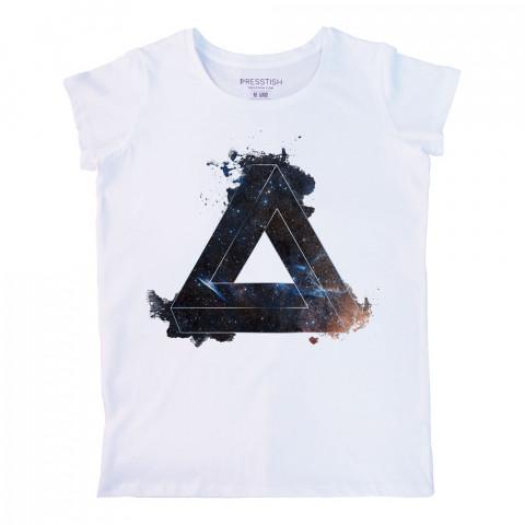 Space Triangle baskılı tasarım tişört. %100 pamuklu baskılı bayan tişört. Presstish tasarım baskılı tişört. Hediyelik kadın tişört. Tişört baskı. Baskılı tasarım tshirt.