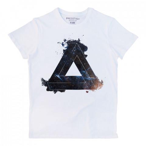 Space Triangle baskılı tasarım tişört. %100 pamuklu baskılı tişört. Presstish organik erkek tasarım baskılı tişört çeşitleri. Hediyelik tasarım tshirt. Tişört baskı.