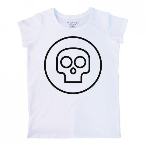 Mini Skull baskılı tasarım tişört. %100 pamuklu baskılı bayan tişört. Presstish tasarım baskılı tişört. Hediyelik kadın tişört. Tişört baskı. Baskılı tasarım tshirt.