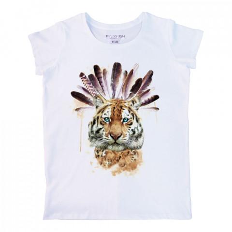 American Indian Tiger baskılı tasarım tişört. %100 pamuklu baskılı bayan tişört. Presstish tasarım baskılı tişört. Hediyelik kadın tişört. Tişört baskı. Baskılı tshirt.