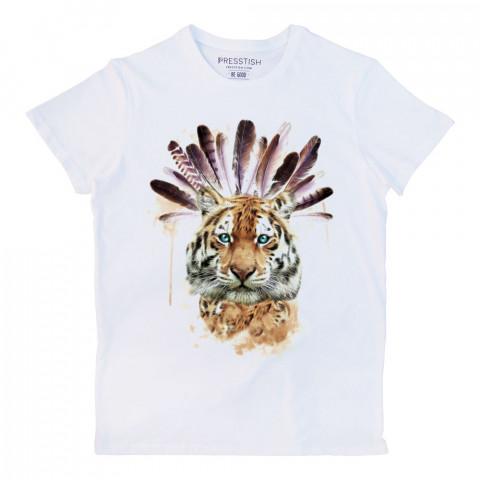 American Indian Tiger baskılı tasarım tişört. Baskılı pamuklu tişört. Presstish organik erkek tasarım baskılı tişört çeşitleri. Hediyelik tasarım tshirt. Tişört baskı.
