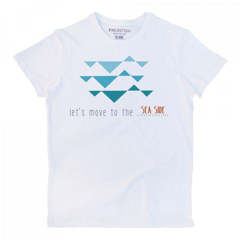 Let's Move To The Sea Side baskılı tasarım tişört. %100 pamuklu baskılı tişört. Presstish organik erkek tasarım baskılı tişört çeşitleri. Hediyelik tshirt. Tişört baskı.