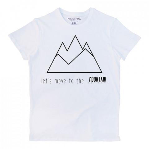 Let's Move To The Mountain baskılı tasarım tişört. %100 pamuklu baskılı tişört. Presstish erkek tasarım baskılı tişört çeşitleri. Hediyelik tasarım tshirt. Tişört baskı.