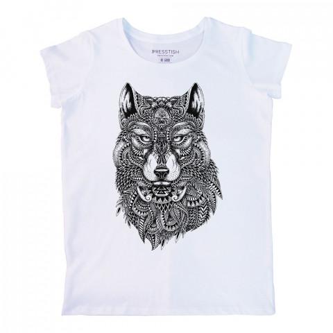 Abstract Wolf baskılı tasarım tişört. %100 pamuklu baskılı bayan tişört. Presstish tasarım baskılı tişört. Hediyelik kadın tişört. Tişört baskı. Baskılı tasarım tshirt.