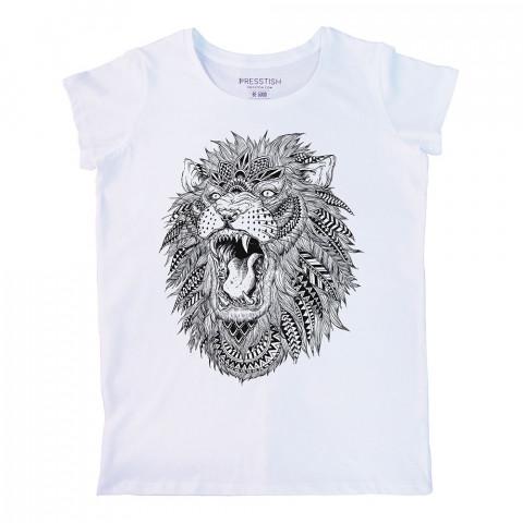 Abstract Lion baskılı tasarım tişört. %100 pamuklu baskılı bayan tişört. Presstish tasarım baskılı tişört. Hediyelik kadın tişört. Tişört baskı. Baskılı tasarım tshirt.