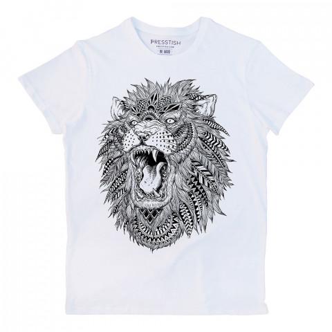 Abstract Lion baskılı tasarım tişört. %100 pamuklu baskılı tişört. Presstish organik erkek tasarım baskılı tişört çeşitleri. Hediyelik tasarım tshirt. Tişört baskı.