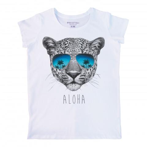 Aloha baskılı tasarım tişört. %100 pamuklu baskılı bayan tişört. Presstish tasarım baskılı tişört. Hediyelik kadın tişört. Tişört baskı. Baskılı tasarım tshirt.