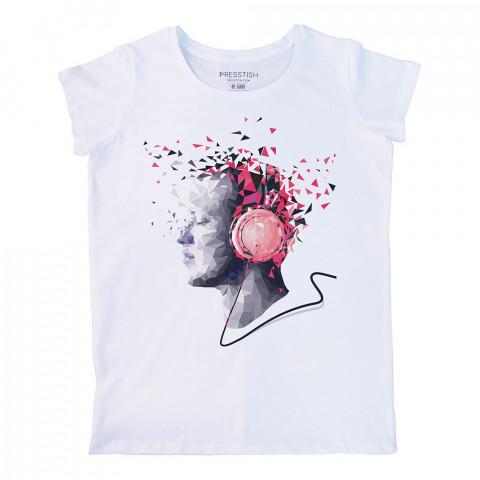 Crystal Music baskılı tasarım tişört. %100 pamuklu baskılı bayan tişört. Presstish tasarım baskılı tişört. Hediyelik kadın tişört. Tişört baskı. Baskılı tasarım tshirt.