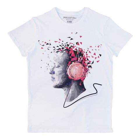 Crystal Music baskılı tasarım tişört. %100 pamuklu baskılı tişört. Presstish organik erkek tasarım baskılı tişört çeşitleri. Hediyelik tasarım tshirt. Tişört baskı.