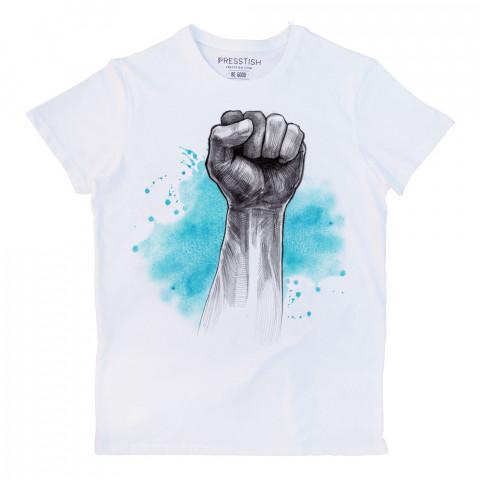 Blue Victory baskılı tasarım tişört. %100 pamuklu baskılı tişört. Presstish organik erkek tasarım baskılı tişört çeşitleri. Hediyelik tasarım tshirt. Tişört baskı.