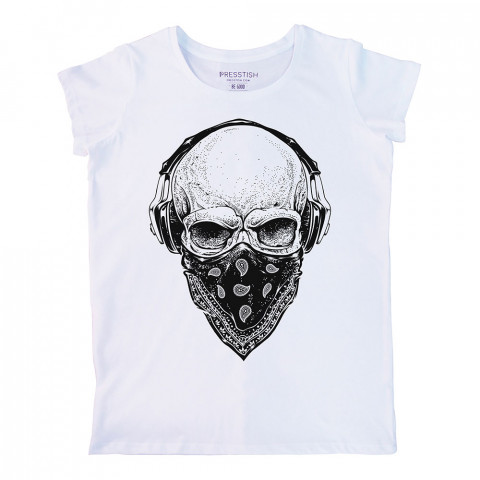 Gangsta Skull baskılı tasarım tişört. %100 pamuklu baskılı bayan tişört. Presstish tasarım baskılı tişört. Hediyelik kadın tişört. Tişört baskı. Baskılı tasarım tshirt.