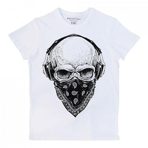 Gangsta Skull baskılı tasarım tişört. %100 pamuklu baskılı tişört. Presstish organik erkek tasarım baskılı tişört çeşitleri. Hediyelik tasarım tshirt. Tişört baskı.