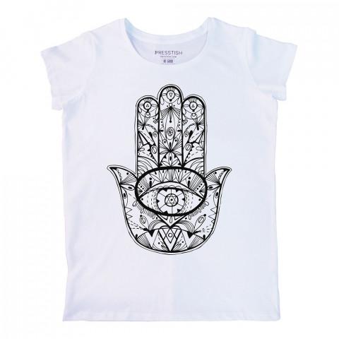 Fatıma's Hand baskılı tasarım tişört. %100 pamuklu baskılı bayan tişört. Presstish tasarım baskılı tişört. Hediyelik kadın tişört. Tişört baskı. Baskılı tasarım tshirt.