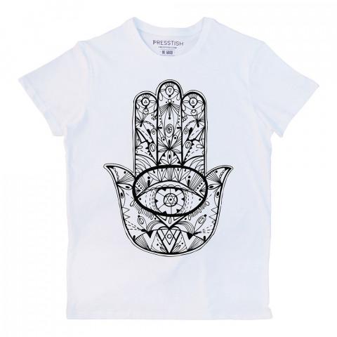 Fatıma's Hand baskılı tasarım tişört. %100 pamuklu baskılı tişört. Presstish organik erkek tasarım baskılı tişört çeşitleri. Hediyelik tasarım tshirt. Tişört baskı.