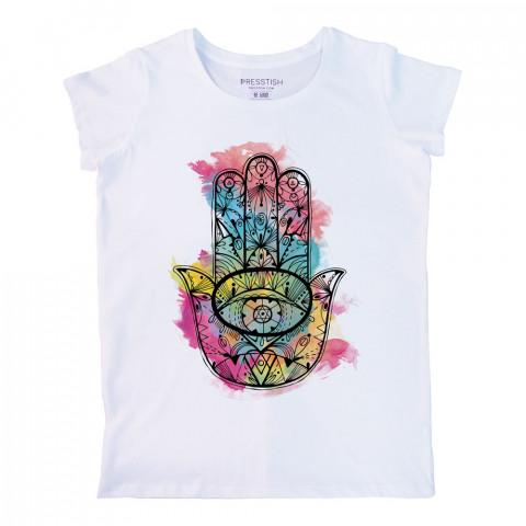 Fatıma's Hand (Colored) baskılı tasarım tişört. %100 pamuklu baskılı bayan tişört. Presstish tasarım baskılı tişört. Hediyelik kadın tişört. Tişört baskı. Baskılı tshirt.