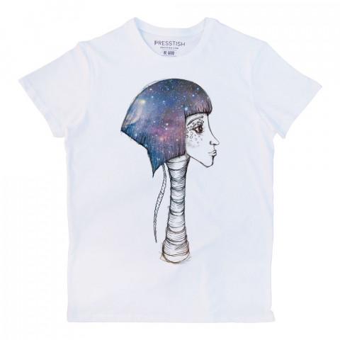 Space Girl baskılı tasarım tişört. %100 pamuklu baskılı tişört. Presstish organik erkek tasarım baskılı tişört çeşitleri. Hediyelik tasarım tshirt. Tişört baskı.