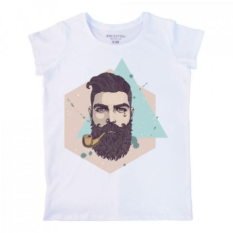 Bearded Hipster baskılı tasarım tişört. %100 pamuklu baskılı bayan tişört. Presstish tasarım baskılı tişört. Hediyelik kadın tişört. Tişört baskı. Baskılı tasarım tshirt.