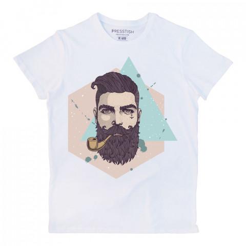 Bearded Hipster baskılı tasarım tişört. %100 pamuklu baskılı tişört. Presstish organik erkek tasarım baskılı tişört çeşitleri. Hediyelik tasarım tshirt. Tişört baskı.