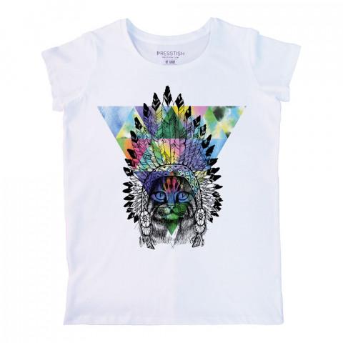 American Indian Cat baskılı tasarım tişört. %100 pamuklu baskılı bayan tişört. Presstish tasarım baskılı tişört. Hediyelik kadın tişört. Tişört baskı. Baskılı tshirt.
