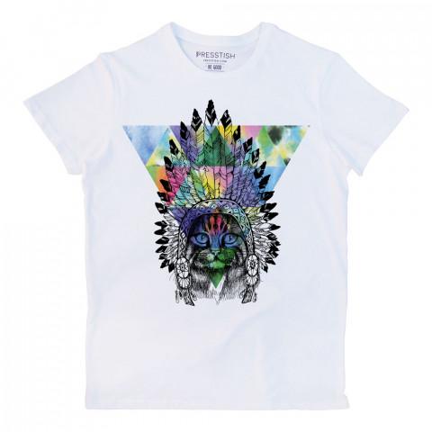 American Indian Cat baskılı tasarım tişört. %100 pamuklu baskılı tişört. Presstish organik erkek tasarım baskılı tişört çeşitleri. Hediyelik tasarım tshirt. Tişört baskı.
