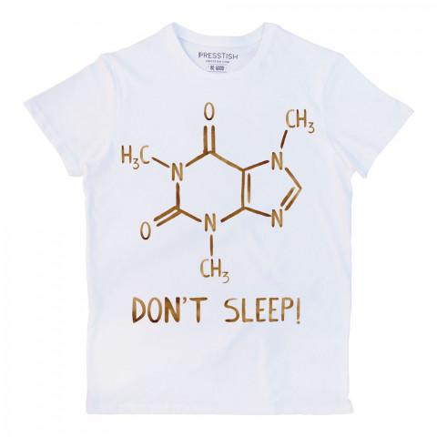 Caffeine Molecule baskılı tasarım tişört. %100 pamuklu baskılı tişört. Presstish organik erkek tasarım baskılı tişört çeşitleri. Hediyelik tasarım tshirt. Tişört baskı.