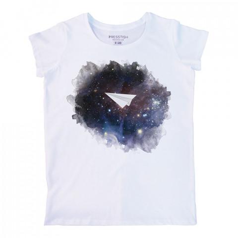 Space Plane baskılı tasarım tişört. %100 pamuklu baskılı bayan tişört. Presstish tasarım baskılı tişört. Hediyelik kadın tişört. Tişört baskı. Baskılı tasarım tshirt.