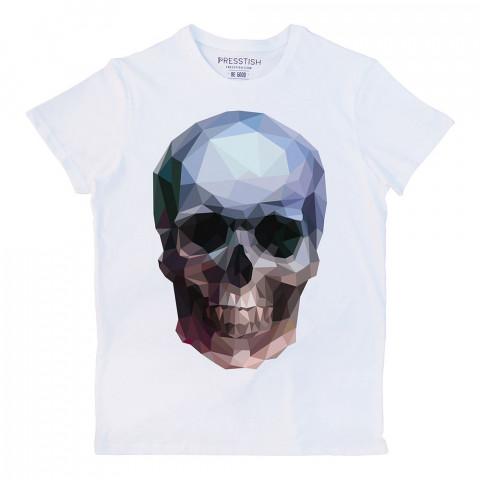 Crystal Skull baskılı tasarım tişört. %100 pamuklu baskılı tişört. Presstish organik erkek tasarım baskılı tişört çeşitleri. Hediyelik tasarım tshirt. Tişört baskı.