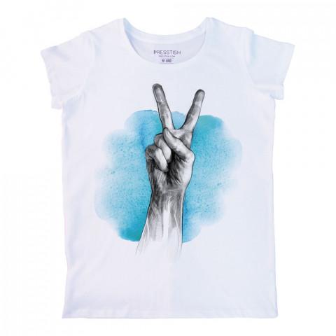 Blue Peace baskılı tasarım tişört. %100 pamuklu baskılı bayan tişört. Presstish tasarım baskılı tişört. Hediyelik kadın tişört. Tişört baskı. Baskılı tasarım tshirt.