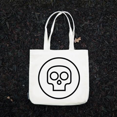 Presstish - Mini Skull - Bez Kumaş Kanvas Tasarım Baskılı Çanta