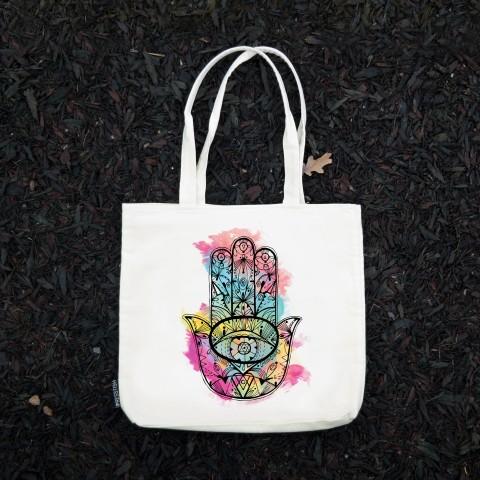 Presstish - Fatıma's Hand (Colored) - Bez Kumaş Kanvas Tasarım Baskılı Çanta