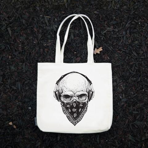 Presstish - Gangsta Skull - Bez Kumaş Kanvas Tasarım Baskılı Çanta