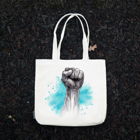 Presstish - Blue Victory - Bez Kumaş Kanvas Tasarım Baskılı Çanta