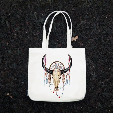 Presstish - Boho Buffalo Skull - Bez Kumaş Kanvas Tasarım Baskılı Çanta