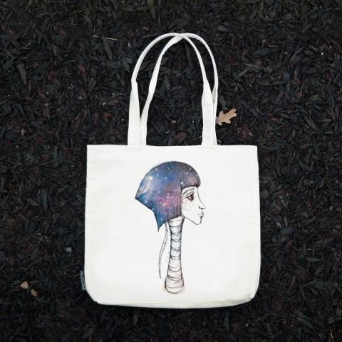 Presstish - Space Girl - Bez Kumaş Kanvas Tasarım Baskılı Çanta