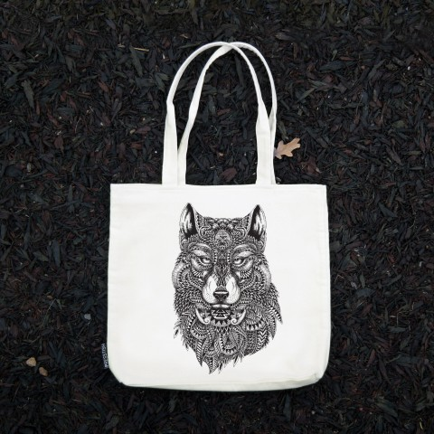 Presstish - Abstract Wolf - Bez Kumaş Kanvas Tasarım Baskılı Çanta
