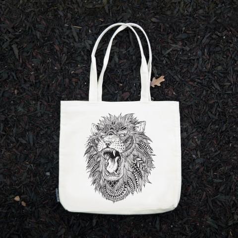 Presstish - Abstract Lion - Bez Kumaş Kanvas Tasarım Baskılı Çanta