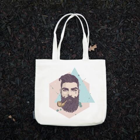 Presstish - Bearded Hipster - Bez Kumaş Kanvas Tasarım Baskılı Çanta