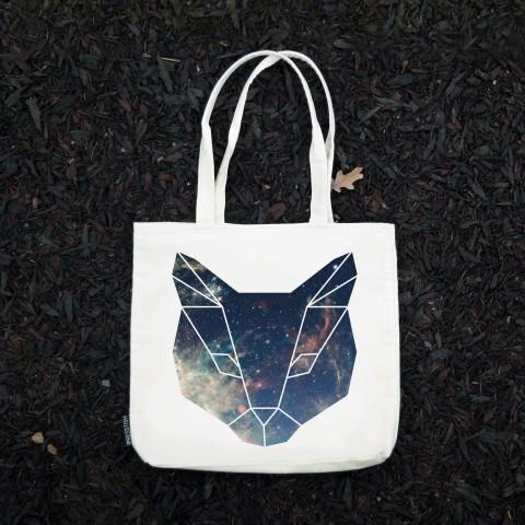 Presstish - Space Cat - Bez Kumaş Kanvas Tasarım Baskılı Çanta