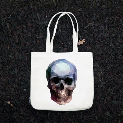 Presstish - Crystal Skull - Bez Kumaş Kanvas Tasarım Baskılı Çanta