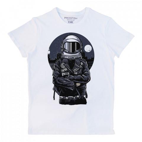 Nasa Biker baskılı tasarım tişört. %100 pamuklu baskılı tişört. Presstish organik erkek tasarım baskılı tişört çeşitleri. Hediyelik tasarım tshirt. Tişört baskı.