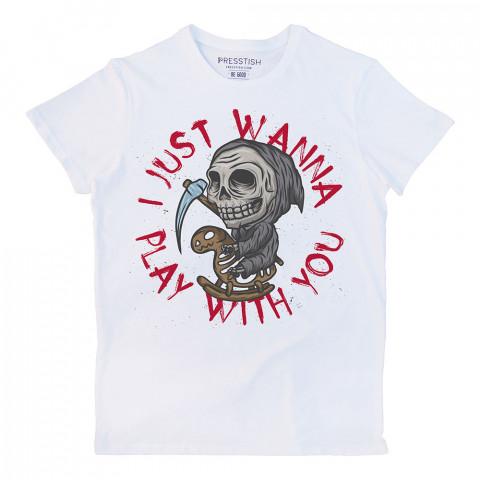 Don't Be Afraid baskılı tasarım tişört. %100 pamuklu baskılı tişört. Presstish organik erkek tasarım baskılı tişört çeşitleri. Hediyelik tasarım tshirt. Tişört baskı.