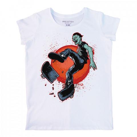Skate Like A Zombie baskılı tasarım tişört. %100 pamuklu baskılı tişört. Presstish tasarım baskılı tişört. Hediyelik kadın tişört. Tişört baskı. Baskılı tasarım tshirt.