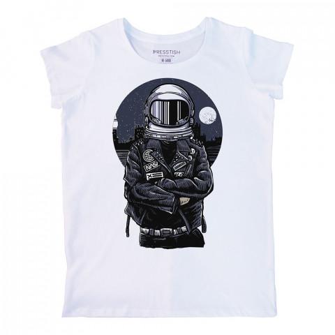Nasa Biker baskılı tasarım tişört. %100 pamuklu baskılı bayan tişört. Presstish tasarım baskılı tişört. Hediyelik kadın tişört. Tişört baskı. Baskılı tasarım tshirt.