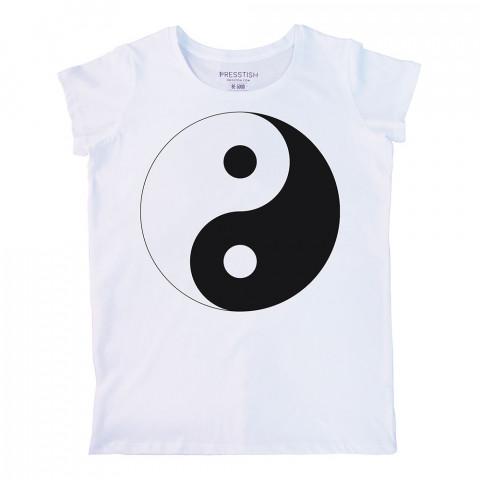 Yin Yang baskılı tasarım tişört. %100 pamuklu baskılı bayan tişört. Presstish tasarım baskılı tişört. Hediyelik kadın tişört. Tişört baskı. Baskılı tasarım tshirt.