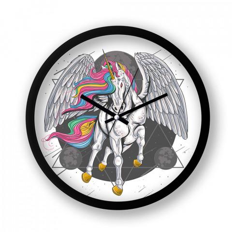Godspeed Younicorn resimli siyah duvar saati. Presstish tasarım baskılı duvar saati. Sessiz akar duvar saati. En güzel duvar saatleri. Hediyelik dekoratif duvar saatleri.