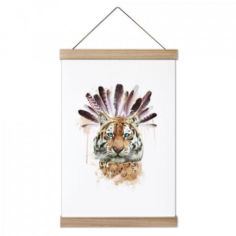 American Indian Tiger Ahşap Çerçeveli Kanvas Poster dekorasyonlarınız için harika bir seçim. Ev ve ofisleriniz Presstish duvar süsleri ile modern bir görünüm kazanıyor.