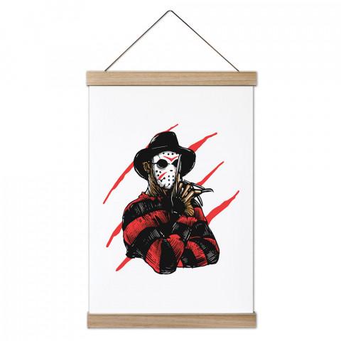 Freddy Krueger Jason Killer Ahşap Çerçeveli Kanvas Poster, dekorasyonlarınız için harika seçim. Ev ve ofisleriniz Presstish duvar süsleri ile şık bir görünüm kazanıyor.