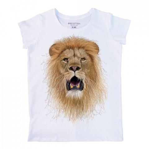 Halim Yalçın'ın Presstish için tasarladığı, tamamen el çiziminden oluşan bu aslan baskılı kadın tişört, en sevdiğiniz tasarım baskılı tişörtünüz olacak.