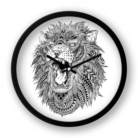 Abstract Lion resimli siyah duvar saati. Presstish tasarım baskılı duvar saati. Sessiz akar duvar saati. En güzel duvar saatleri. Hediyelik şık dekoratif duvar saatleri.