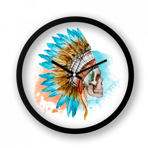 American Indian Skull resimli siyah duvar saati. Presstish tasarım baskılı duvar saati. Sessiz akar duvar saati. En güzel duvar saatleri. Dekoratif duvar saatleri.